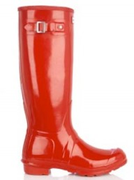 Red Wellington boots by Hunter