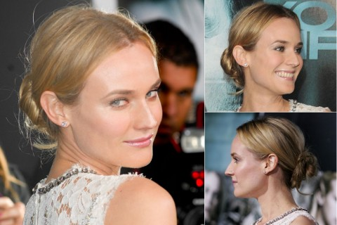 Diane Kruger - celebrity bun hairstyles - buns - topknots 