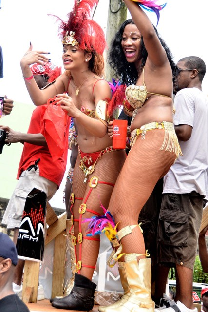 Rihanna at Barbados' Kadoomant Day Parade