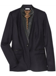 Sandro leather trim wool blazer