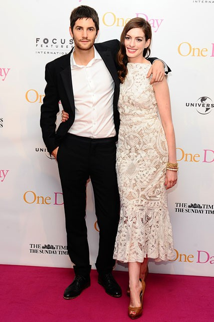 Anne Hathaway and Jim Sturgess at the One Day premiere in London