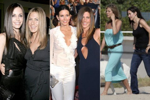 Jennifer Aniston and Courteney Cox - celebrity best friends - celebrity friends