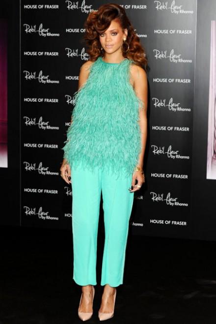 rihanna - antonio berardi - ostrich - outfit - turquoise - peta