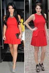 kim kardashian - tulisa contostavlos - alexander mcqueen - red - dress - fashion
