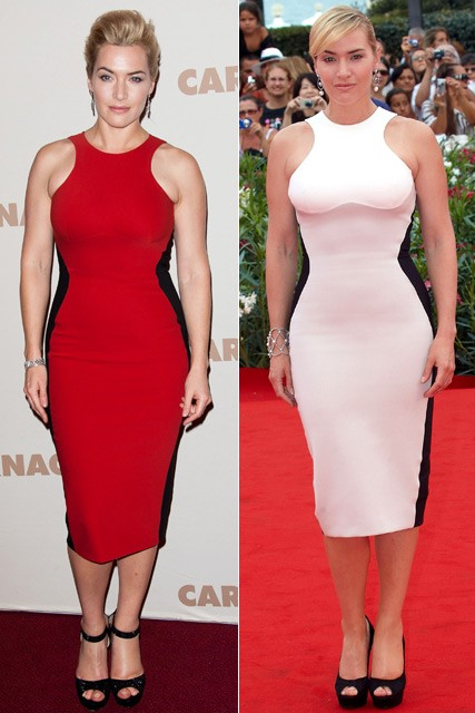 Kate WInslet in Stella McCartney nude and black dress, red and black dress, optical illusion dress