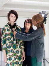 Marni's Consuelo Castiglioni and H&M's Margareta van den Bosch style the collection on a model
