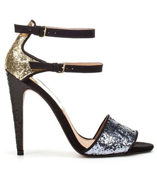 Zara glitter peep-toe sandals, £49.99