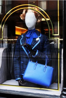 Anya Hindmarch dresses windows in tribute to Margaret Thatcher's style
