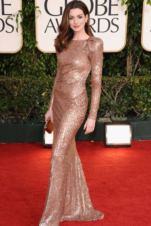 Anne Hathaway - 60 Best Golden Globes Dresses of All Time - Best Golden Globes Dresses of All Time - Golden Globes Dresses - Golden Globes Best Dressed - Golden Globes Marie Claire - Marie Claire UK