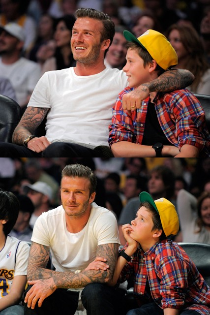 David and Brooklyn Beckham, David beckham, Brooklyn Beckham, Victoria Beckham, Cruz Beckham, Romeo Beckham, Harper Seven Beckham, Beckham family, David Beckham at LA Lakers game, Beckham family
