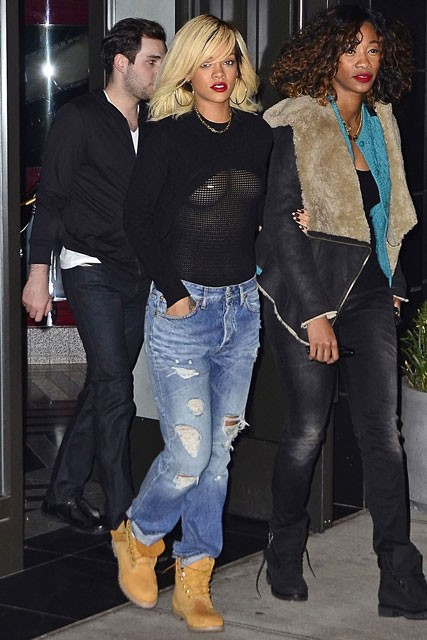Rihanna flashes her chest in sheer mesh top - celebrity gossip - celebrity news