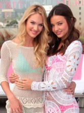 Miranda Kerr and Candice Swanepoel model new Victoria's Secret swimwear in LA - fashion launch - model pictures