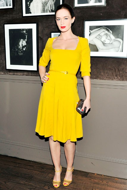Emilly Blunt wearing yellow Ellie Saab at a private dinner in New York - celebrity fashion - celebrity style