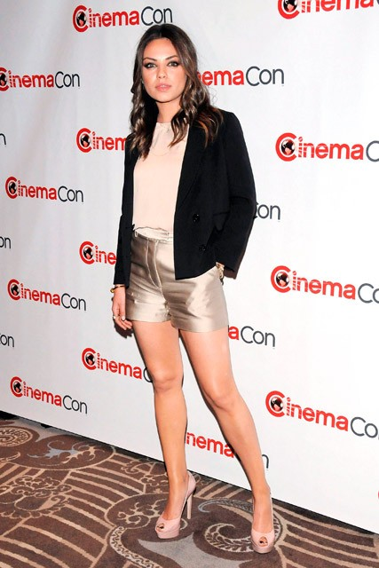 Mila Kunis in metallic gold shorts: LOVE or HATE? | Marie Claire