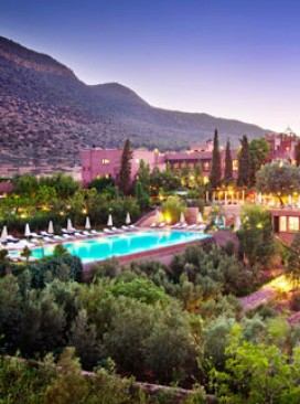 The view of the Kasbah Tamadot Morocco at dusk