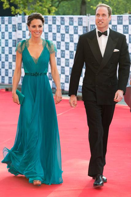 Kate Middleton in teal Jenny Packham dress