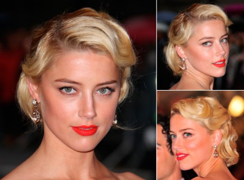 Amber Heard with an updo hairstyle
