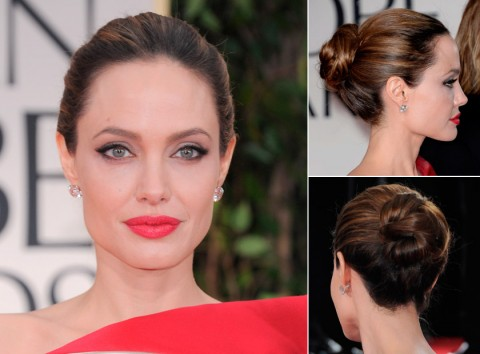 Angelina Jolie with an updo hairstyle