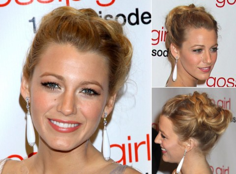 Blake Lively with an updo hairstyle