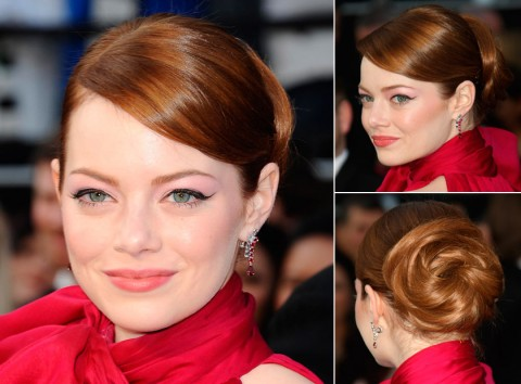 Emma Stone with an updo hairstyle