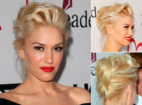Gwen Stefani with an updo hairstyle