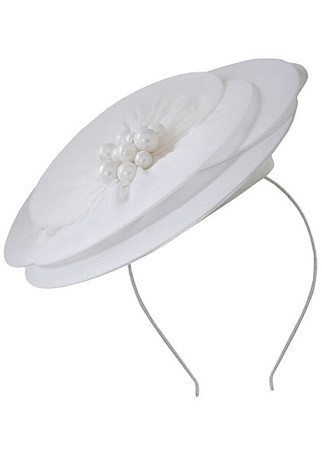 Minute petite white chiffon pearl trim fascinator, £47.20 - What to wear to the races