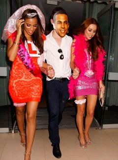 Rochelle Wiseman and Una Healy at Rochelle Wiseman's hen night in London