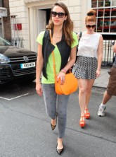 Jessica Alba wearing neon out and about in London