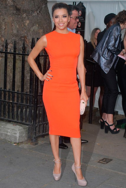 Eva Longoria in orange Victoria Beckham dress in London