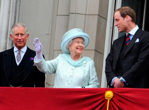Prince Charles, Queen Elizabeth & Prince William at the Queen's Diamond Jubilee Celebrations