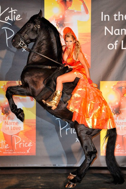 Katie Price's bizarre horseback book launch