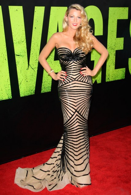 Blake Lively attends the Savages film premiere
