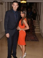 Cory Monteith and Lea Michele at the Atelier Versace Haute Couture Autumn/Winter 2012 show in Paris