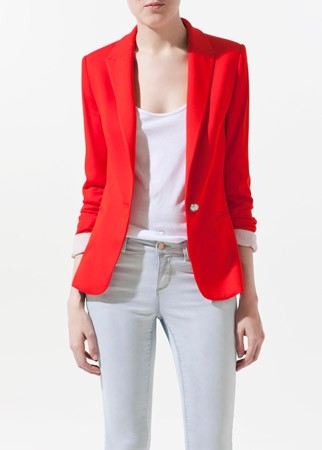 Zara single-breasted blazer, £49.99