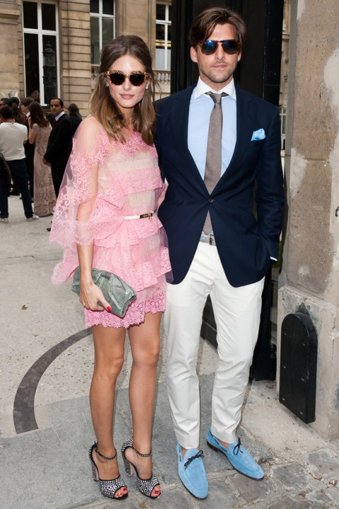 Olivia Palermo and Johannes Huebl at the Valentino Haute Couture autumn/winter 2012 show in Paris