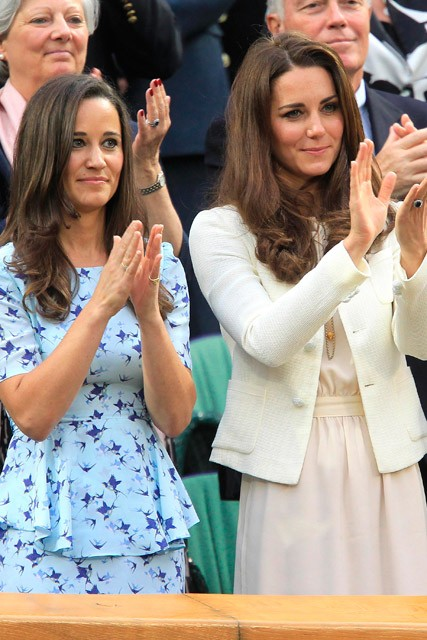 Kate Middleton and Pippa Middleton watch the Wimbledon final