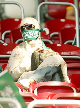 Saudi Arabian woman watching sport