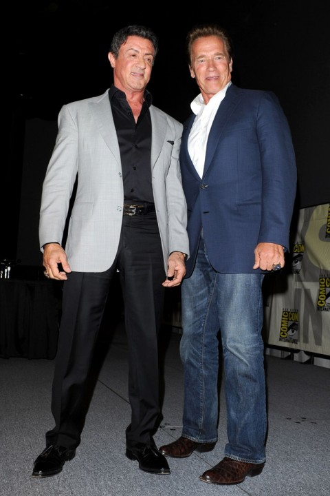 Sylvester Stallone and Arnold Schwarzenegger at Comic-Con 2012 in San Diego