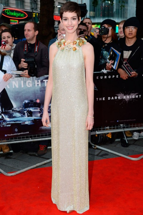 Anne Hathaway at the Dark Knight Rises premiere in London