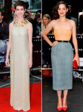 Anne Hathaway and Marion Cotillard at The Dark Knight Rises European premiere in London