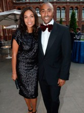 Rosario Dawson and Colin Jackson at the Sports for Peace fundraising ball at the Victoria & Albert Museum in London