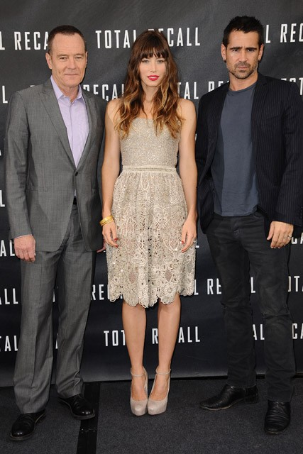 Jessica Biel at the Los Angeles photocall for Total Recall