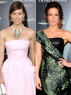 Jessica Biel and Kate Beckinsale at the Los Angeles premiere of Total Recall