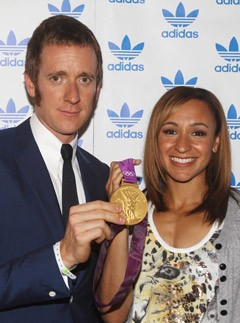 Bradley Wiggins and Jessica Ennis at Adidas' Underground Stone Roses and Olympics party in London