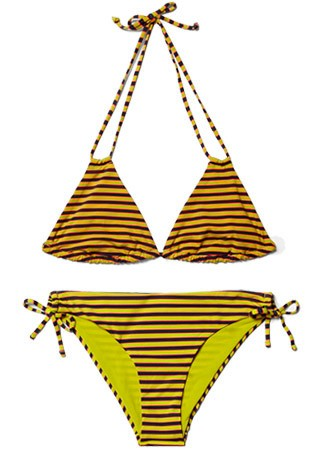 COS striped bikini top, £7, and matching bottoms, £7