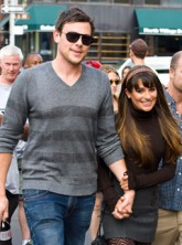 Lea Michele and Cory Monteith filming Glee in New York