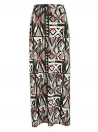 River Island Aztec side split maxi skirt