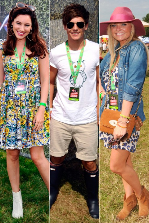 Kelly Brook, Louis Tomlinson and Emma Bunton at V Festival 2012