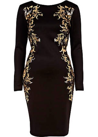 River Island baroque bodycon dress, &pound;40