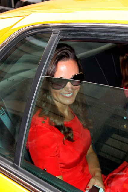 Pippa Middleton wearing a red dress out in New York